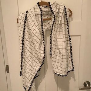 J Crew black and white scarf shawl wrap